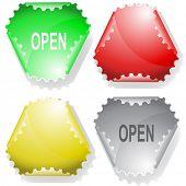 Open. Vector sticker.