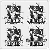 Cricket, Baseball, Lacrosse And Hockey Logos And Labels. Sport Club Emblems With Archer And Hunter.  poster