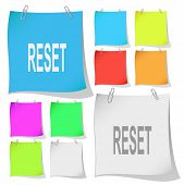 Reset. Vector note papers.