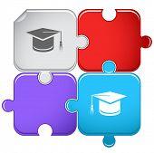 Graduation cap. Vector puzzle.