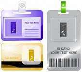 Glass with tablets. Vector id cards.