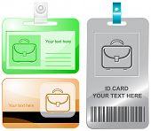 Briefcase. Vector id cards.