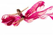 Graceful Ballet Dancer Or Classic Ballerina Dancing Isolated On White Studio. Woman Dancing With Pin poster
