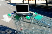 Close Up Of  Laptop On Shopping Carts