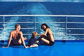 Mother And Father With Son In Sea On Yacht. Family Travel With Kid On Mothers Or Fathers Day. Love A poster