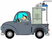 Truck hauling a furnace & water heater