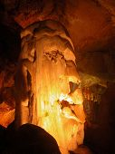 Stalagmite. Marble Cave. Crimea.