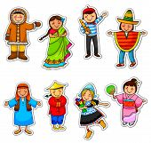 stock photo of eskimos  - kids in different traditional costumes from all over the world - JPG