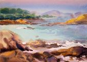 stock photo of expressionism  - Watercolor painting seascape in Provance in France - JPG