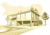 Vector Sepia Background With Modern House With Swimming pool