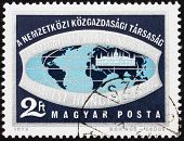Postage stamp Hungary 1974 Globe and HungarianParliament