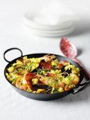 Seafood Paella in metal dish with spoon