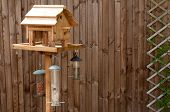 Bird Feeding Table Against A Wooden Fence