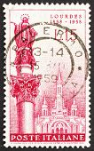 Postage stamp Italy 1958 Immaculate Conception Statue, Rome and LourdesBasilica
