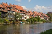 stock photo of regnitz  - Houses at the water of Regnitz River in Bamberg - JPG