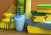 picture of sanitation  - Cleaning and sanitation products In yellow and green colors - JPG