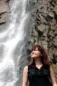 Girl And Waterfall