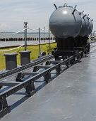 Naval Mines On The Deck Of Battleship In Sunny Day