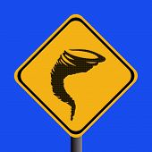 picture of warning-signs  - Warning tornado sign with halftone effect illustration - JPG