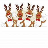 image of deer horn  - Vector illustration of cartoon Christmas deer and place for text - JPG
