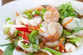 picture of thai cuisine  - Seafood Thai Style salad in Thai Restaurant.