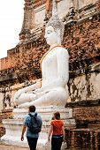 Monuments Of Sitting  Buddah Wat Yai Thailand