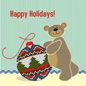 Vintage Teddy Bear with Christmas decoration