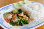 Thai Food. Rice And Shrimp With Sweet And Spicy Sauce, Stir And Serve With Rice