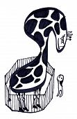 Girafa dentro de casa no jardim zoológico