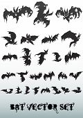 stock photo of cave-dweller  - decorative bat vector silhouette collection for editing - JPG