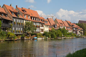 picture of regnitz  - Houses at the water of Regnitz River in Bamberg - JPG