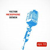 Vector microphone halftone icons, easy editable
