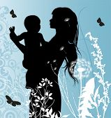 Family, Mather and Baby. All elements and textures are individual objects. Vector illustration scale