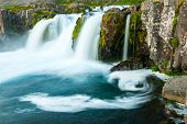 picture of fjord  - Dynjandi is the most famous waterfall of the West Fjords and one of the most beautiful waterfalls in the whole Iceland - JPG