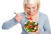 salad woman diet healthy eating happy and slim
