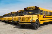 stock photo of lineup  - school buses parked in a parking lot - JPG