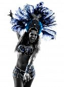 stock photo of brazilian carnival  - one caucasian woman samba dancer  dancing silhouette  on white background - JPG