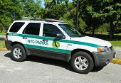 US Park ranger car in NYC park in Brooklyn