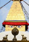Buddha Eyes Of Bodhnath Stupa And Wheel Of Dharma With Two Deers,kathmandu,Nepal