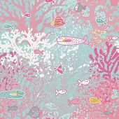 Cute seamless pattern with small fishes and corals. Vector background with pink coral reef, diving illustration.