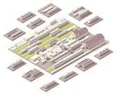 stock photo of locomotive  - Isometric railroad yard - JPG