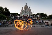 Fire Show In Front Of Sacre Coeur Cathedral In Paris, France