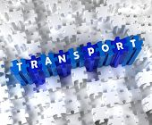 Creative 3D pieces of puzzle and word TRANSPORT