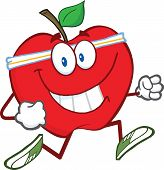 Healthy Red Apple Cartoon Character Jogging