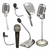 A Set Of Microphone On White Background