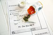 "Medical Marijuana prescription with a ""Bud"" some ""Shake"" and a ""Joint"" on a prescription with a Plas"
