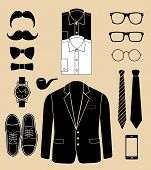 set of man fashion elements. vector illustration