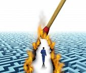 image of trailblazer  - Leader Solutions with a businessman walking through a complicated maze opened up by flames and fire lit by a match as a business concept of innovative thinking for financial success - JPG