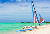 Catamaran at a resort in Cayo Coco (Coco key), a beautiful tourist destination in Cuba poster