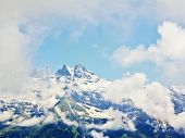 Snow Capped Mountain View Landscape Alps